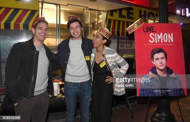 "Director Greg Berlanti, actress Alexandra Shipp and actor Nick Robinson attend ""Love, Simon"" Atlanta Fan Screening and Q&A at the Waffle House Food..."