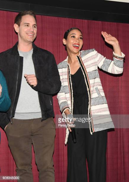Director Greg Berlanti and actress Alexandra Shipp attend Love Simon Atlanta Fan Screening and QA at Regal Atlantic Station on March 6 2018 in...