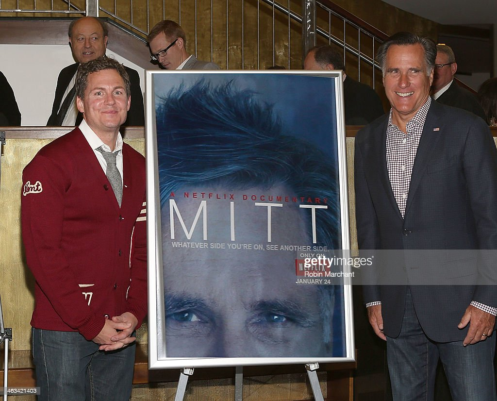 Director Greg Whitely (L) and Politician Mitt Romney attend 'Mitt' Premiere for the 2014 Sundance Film Festival at Rose Wagner Performing Arts Center on January 17, 2014 in Salt Lake City, Utah.