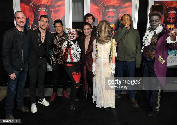 Director Gregory Plotkin actors Christian James Matt Mercurio Bex TaylorKlaus and Roby Attal and Fright Fest Scareactors from the Hell Fest Maze at...