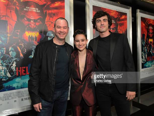 Director Gregory Plotkin and actors Bex TaylorKlaus and Roby Attal attend the Opening Night Screening Of HELL FEST at the TCL Chinese 6 Theater on...