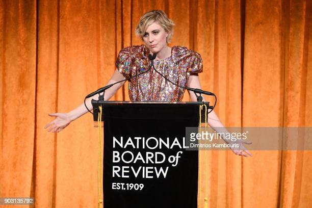 Director Greta Gerwig accepts an award onstage during the National Board of Review Annual Awards Gala at Cipriani 42nd Street on January 9 2018 in...