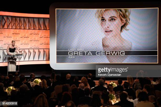 Director Greta Gerwig accepts the Nomination Medallion for Outstanding Directorial Achievement in Feature Film for 'Lady Bird' onstage during the...