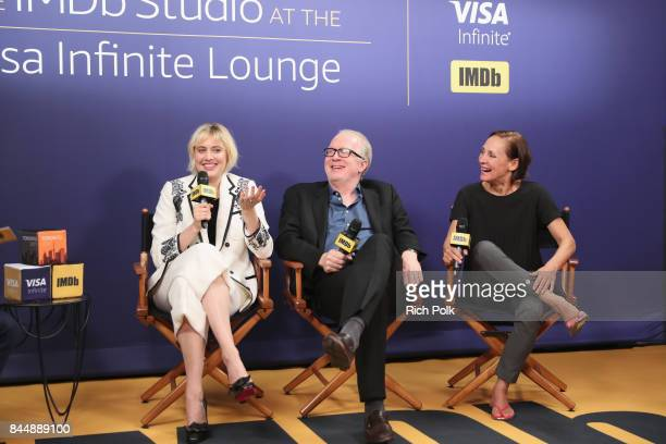 Director Greta Gerwig actor Tracy Letts and actress Laurie Metcalf of 'Lady Bird' attend The IMDb Studio Hosted By The Visa Infinite Lounge at The...