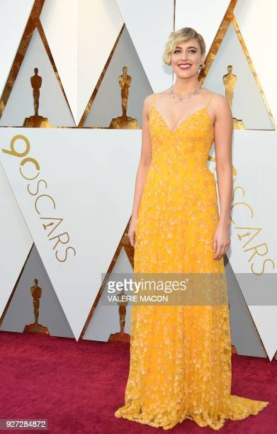 Director Greta Gerwig arrives for the 90th Annual Academy Awards on March 4 in Hollywood California / AFP PHOTO / VALERIE MACON