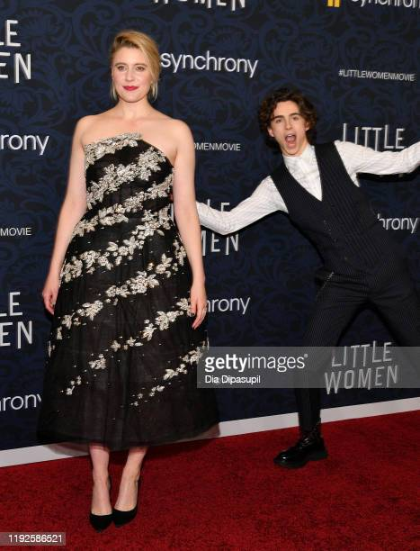 Director Greta Gerwig poses as actor Timothée Chalamet 'photo bombs' at the Little Women World Premiere at Museum of Modern Art on December 07 2019...