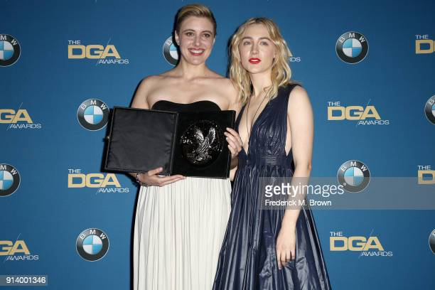 Director Greta Gerwig recipient of the Nomination Medallion for Outstanding Directorial Achievement in Feature Film for 'Lady Bird' and actor Saoirse...