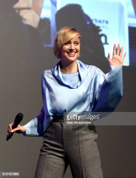 Director Greta Gerwig speaks onstage at the Outstanding Directors Award Sponsored by The Hollywood Reporter during The 33rd Santa Barbara...