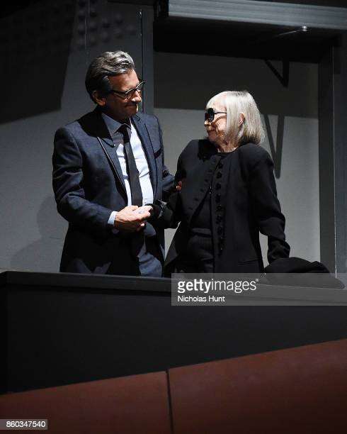 Director Griffin Dunne and Writer Joan Didion attend the 55th New York Film Festival presentation of 'Joan Didion The Center Will Not Hold' at Alice...