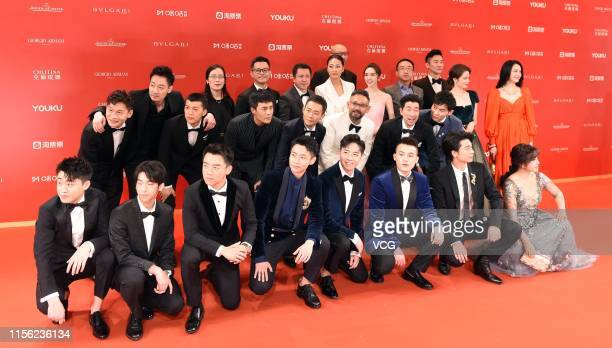 Director Guan Hu and actors of film 'The Eight Hundred' attend the opening ceremony of the 22nd Shanghai International Film Festival at Shanghai...
