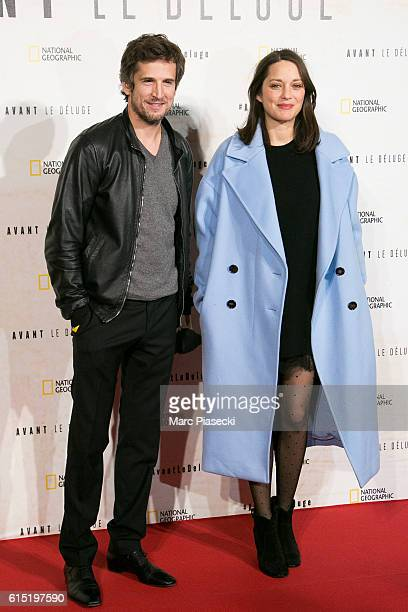 Director Guillaume Canet and actress Marion Cotillard attend the 'Before the Flood Avant le Deluge' Premiere at Theatre du Chatelet on October 17...