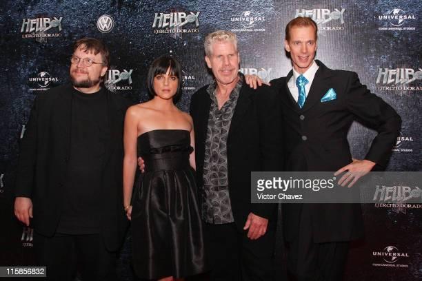 Director Guillermo Del Toro actors Selma BlairRon Perlman and Doug Jones attends the Hellboy II The Golden Army Mexico City Premiere at Cinemex...