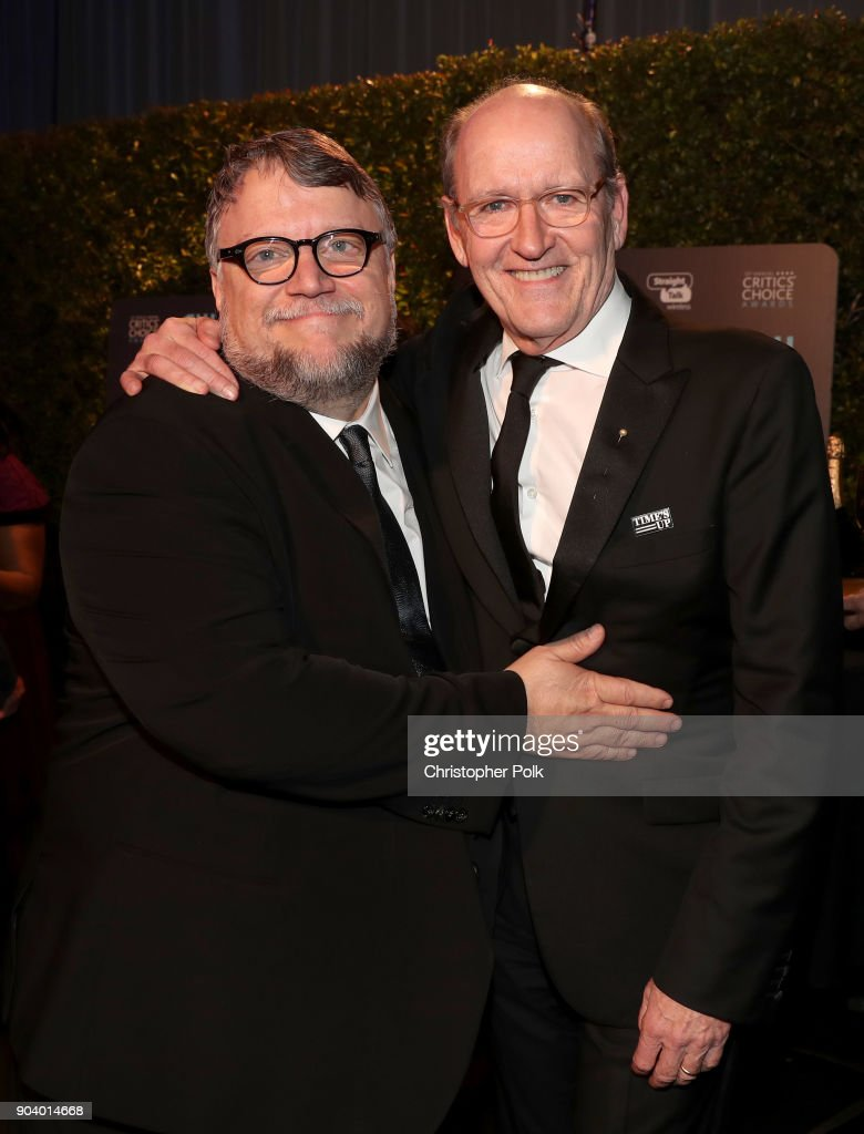 Director Guillermo del Toro (L) and actor Richard Jenkins attend The 23rd Annual Critics' Choice Awards at Barker Hangar on January 11, 2018 in Santa Monica, California.