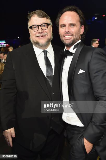 Director Guillermo del Toro and actor Walton Goggins attend The 23rd Annual Critics' Choice Awards at Barker Hangar on January 11 2018 in Santa...