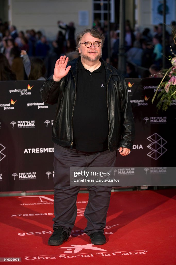 Director Guillermo del Toro arrives at the Cervantes Theater during the 21th Malaga Film Festival on April 14, 2018 in Malaga, Spain.
