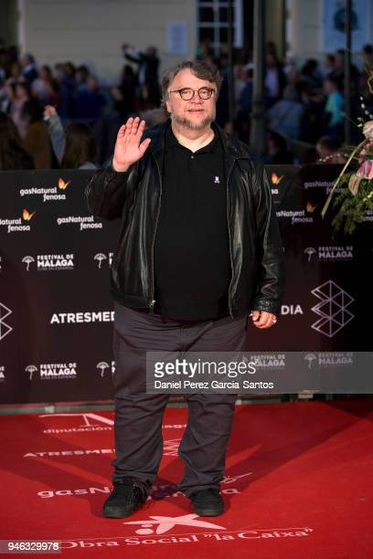 Director Guillermo del Toro arrives at the Cervantes Theater during the 21th Malaga Film Festival on April 14 2018 in Malaga Spain