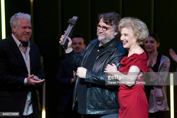 Director Guillermo del Toro receives from actress Marisa Paredes the Malaga Sur award during the 21th Malaga Film Festival at the Cervantes Theater...