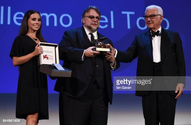 Director Guillermo del Toro receives the Golden Lion for Best Film Award for 'The Shape Of Water' from President of the festival Paolo Baratta and a...