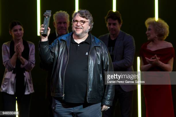 Director Guillermo del Toro receives the Malaga Sur award during the 21th Malaga Film Festival at the Cervantes Theater on April 14 2018 in Malaga...