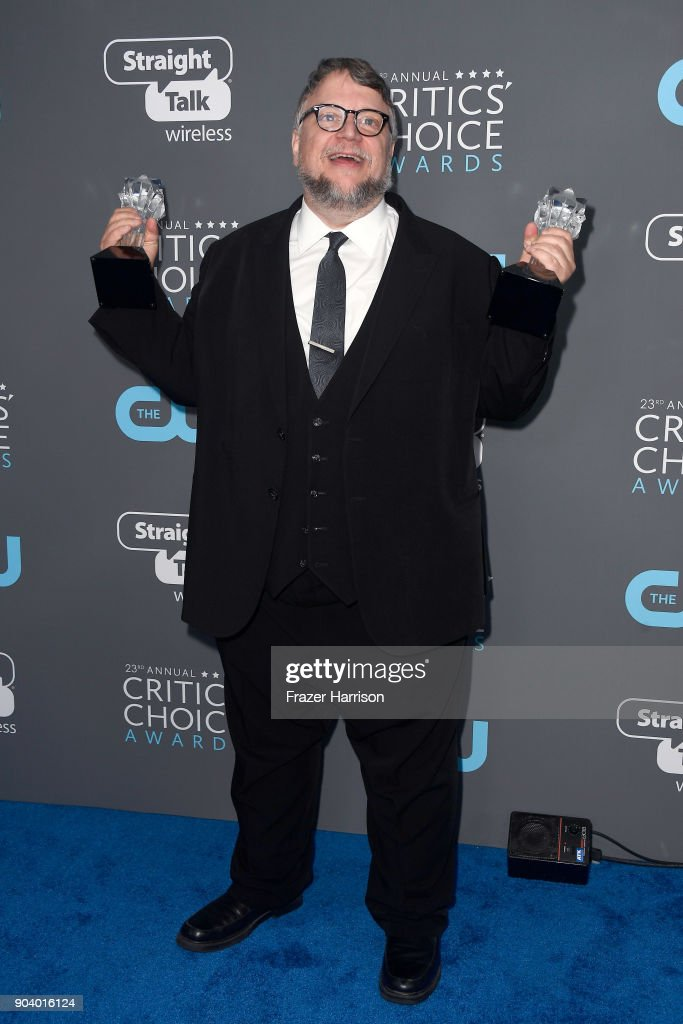 Director Guillermo del Toro, recipient of the Best Director and Best Picture awards for The Shape of Water, poses in the press room during The 23rd Annual Critics' Choice Awards at Barker Hangar on January 11, 2018 in Santa Monica, California.