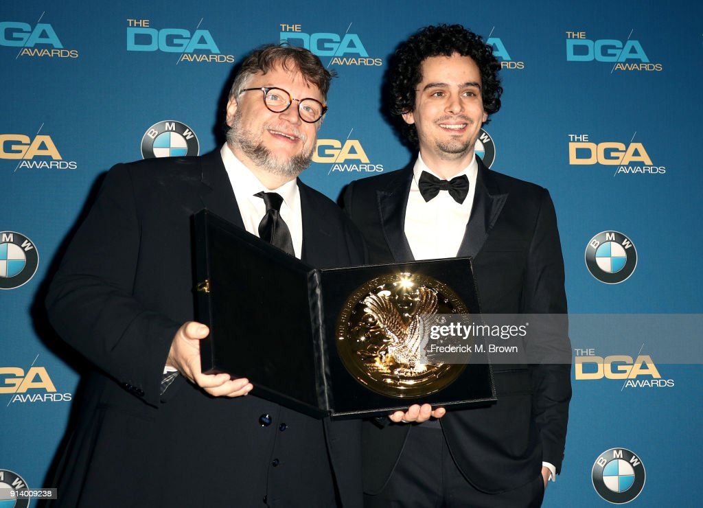 Director Guillermo del Toro, winner of the award for Outstanding Directorial Achievement in Feature Film for 'The Shape of Water', and director Damien Chazelle pose in the press room during the 70th Annual Directors Guild Of America Awards at The Beverly Hilton Hotel on February 3, 2018 in Beverly Hills, California.