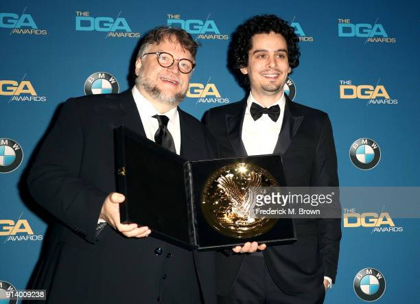 Director Guillermo del Toro winner of the award for Outstanding Directorial Achievement in Feature Film for 'The Shape of Water' and director Damien...