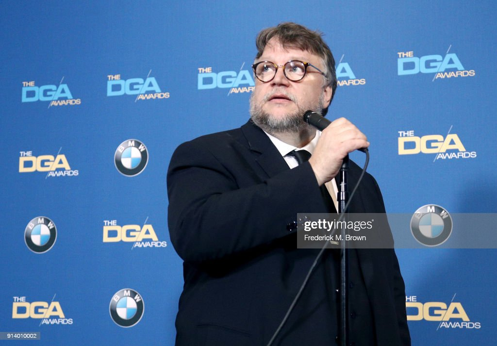 Director Guillermo del Toro, winner of the award for Outstanding Directorial Achievement in Feature Film for 'The Shape of Water', speaks in the press room during the 70th Annual Directors Guild Of America Awards at The Beverly Hilton Hotel on February 3, 2018 in Beverly Hills, California.