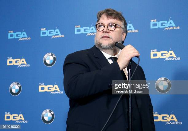 Director Guillermo del Toro winner of the award for Outstanding Directorial Achievement in Feature Film for 'The Shape of Water' speaks in the press...