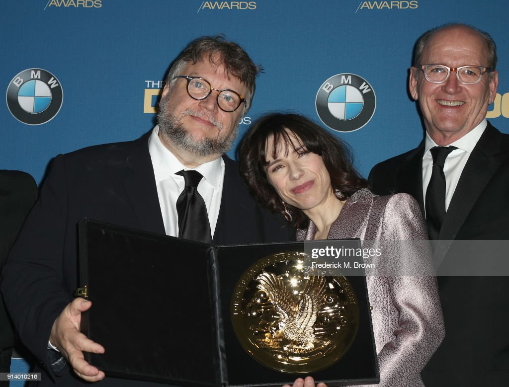 Director Guillermo del Toro, winner of the award for Outstanding Directorial Achievement in Feature Film for 'The Shape of Water', and actors Sally Hawkins and Richard Jenkins pose in the press room during the 70th Annual Directors Guild Of America Awards at The Beverly Hilton Hotel on February 3, 2018 in Beverly Hills, California.