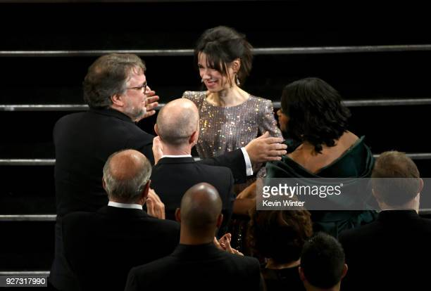 Director Guillermo del Toro wins Best Director for 'The Shape of Water' with actors Sally Hawkins and Octavia Spencer during the 90th Annual Academy...