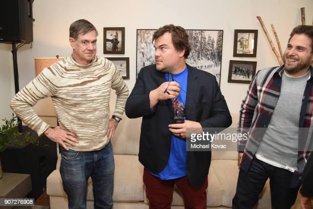 Director Gus Van Sant Actor Jack Black Actor Jonah Hill of the film 'Don't Worry He Won't Get Far on Foot' attend as Grey Goose Blue Door hosts the...