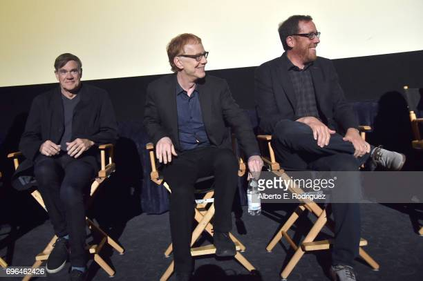 Director Gus Van Sant composer Danny Elfman and director Rob Minkoff speak during the premiere of 'Rabbit Rogue' during the 2017 Los Angeles Film...