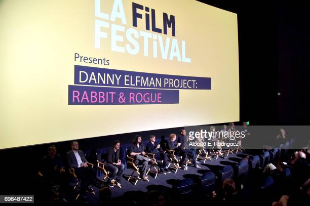 Director Gus Van Sant composer Danny Elfman director Rob Minkoff and contestants speak during the premiere of 'Rabbit Rogue' during the 2017 Los...