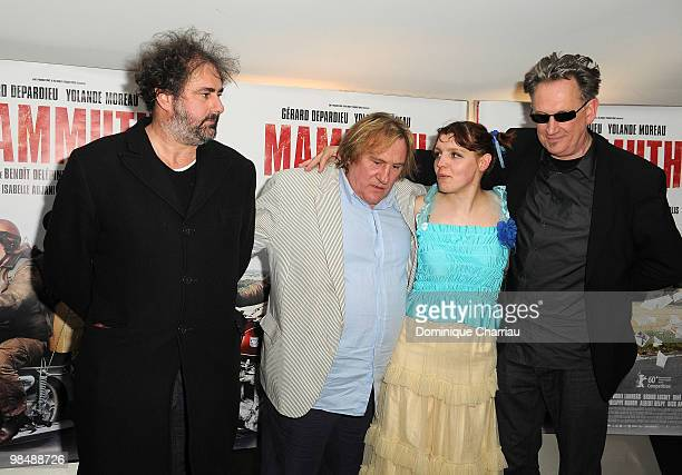 Director Gustave de Kervern Actor gerard Depardieu Actress Miss ming and Benoit Delepine attend the 'Mammuth' Paris Premiere at UGC Cine Cite des...