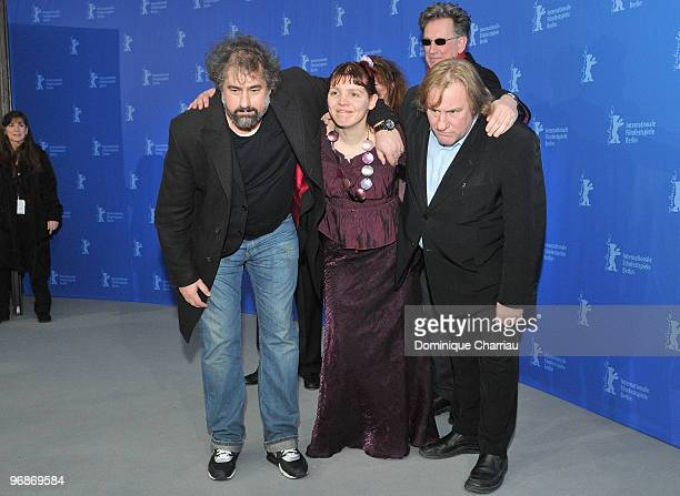 Director Gustave de Kervern actress Miss Ming director Benoit Delepine and actor Gerard Depardieu attend the 'Mammuth' Photocall during day nine of...