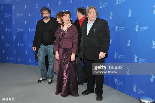 Director Gustave de Kervern actress Yolande Moreau actress Miss Ming director Benoit Delepine and actor Gerard Depardieu attend the 'Mammuth'...