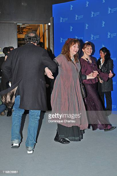 Director Gustave de Kervern dances with Yolande Moreau and Miss Ming at the 'Mammuth' Photocall during day nine of the 60th Berlin International Film...