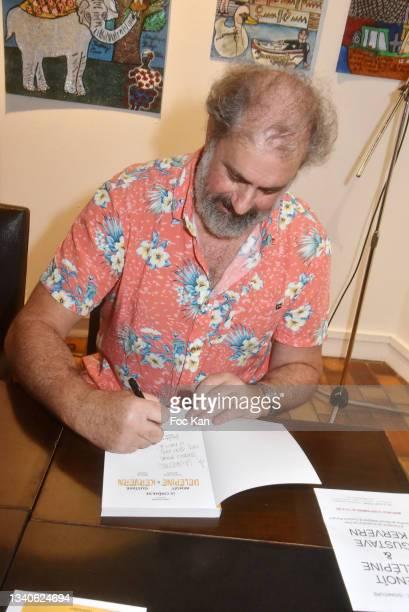 """Director Gustave Kervern attends """"Le Cinema De Benoit Delepine Et Gustave Kervern"""" Book Signing Party At Halle Saint Pierre on September 15, 2021 in..."""