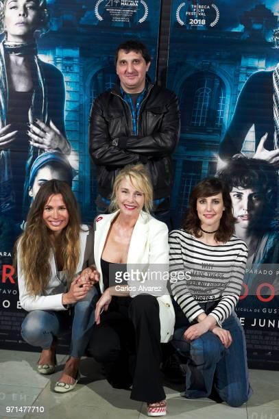 Director Gustavo Hernandez and actresses Maria Zabay Belen Rueda and Natalia de Molina attend 'No Dormiras' photocall at Renoir cinema on June 11...