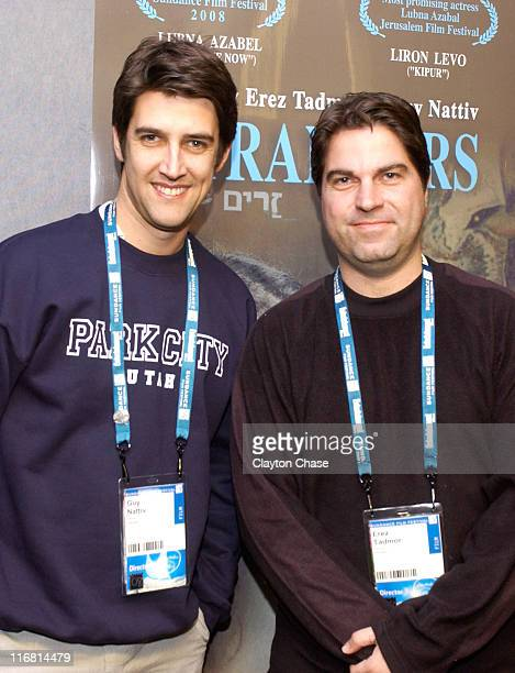 Director Guy Nattiv and Director Erez Tadmor attends a screening of Strangers during 2008 Sundance Film Festival at Egyptian Theatre on January 19...