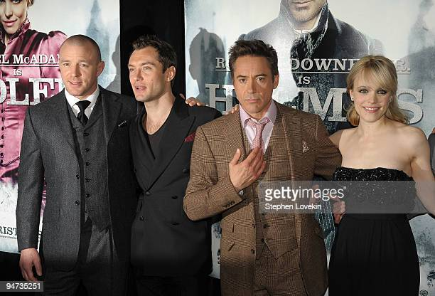"Director Guy Ritchie and actors Jude Law, Rachel McAdams and Robert Downey Jr. Attend the premiere of ""Sherlock Holmes"" at the Alice Tully Hall,..."