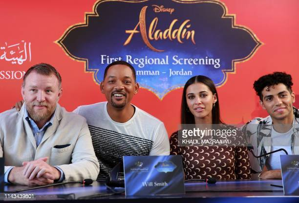 Director Guy Ritchie and cast members Will Smith Naomi Scott and Mena Massoud of Disney's liveaction Aladdin attend a press conference in Jordan's...
