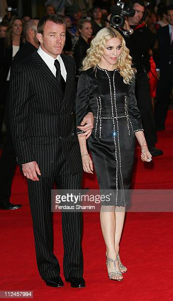 Director Guy Ritchie and wife Madonna attend the world premiere of RocknRolla at Odeon West End on September 1 2008 in London England