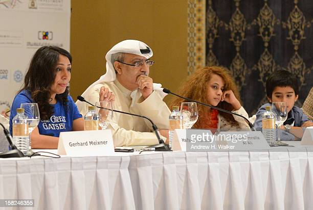 Director Haifaa Al Mansour Artistic Director of DIFF Masoud Amralla Al Ali and actors Waad Mohammed and Abdulrahman al Guhani attend the 'Wadjda'...