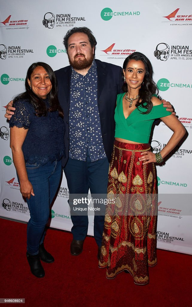 Director Haifaa Al-Mansour, Film critic Carlos Aguilar and Actress Sujata Day attend Closing Night Red Carpet 16th Annual Indian Film Festival Of Los Angeles at Regal Cinemas L.A. Live on April 15, 2018 in Los Angeles, California.