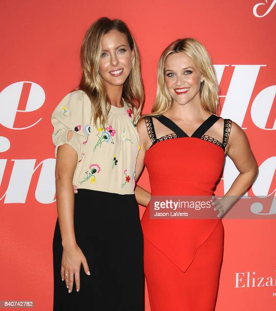 Director Hallie MeyersShyer and actress Reese Witherspoon attend the premiere of Home Again at Directors Guild of America on August 29 2017 in Los...