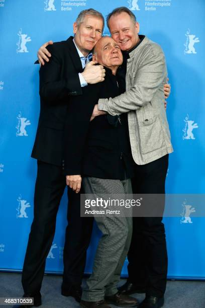 Director Hans Petter Moland actor Bruno Ganz and actor Stellan Skarsgard attend the 'In Order of Disappearance' photocall during 64th Berlinale...