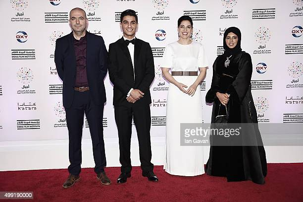 Director Hany AbuAssad Arab Idol Winner Mohammed Assaf Producer Amira Diab and Doha Film Institute CEO Fatma Al Remaihi on the red carpet at the...