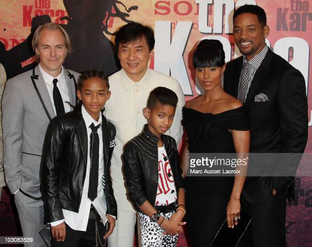 Director Harald Zwart Jaden Smith Jackie Chan Willow Smith Jada Pinkett Smith and Will Smith pose for 'The Karate Kid' Paris Premiere Photocall at Le...