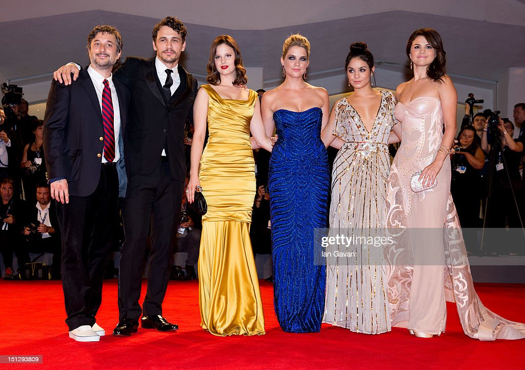 Director Harmony Korine, actors James Franco, Rachel Korine, Ashley Benson, Vanessa Hudgens and Selena Gomez attend the 'Spring Breakers' Premiere during The 69th Venice Film Festival at the Palazzo del Cinema on September 5, 2012 in Venice, Italy.
